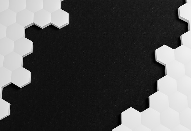 White shapes on black background
