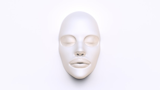 White sheet mask on white background 3d render