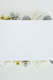 White sheet on Christmas composition