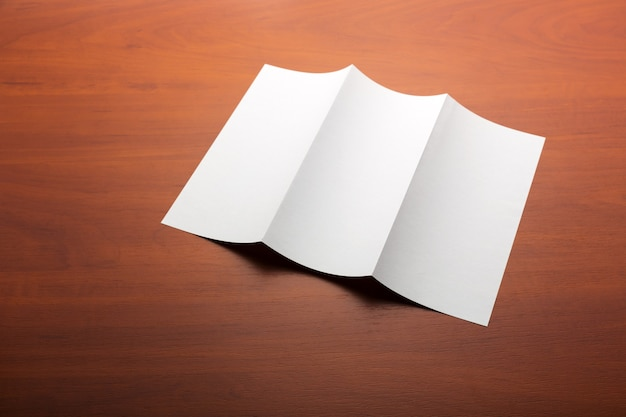 White sheet of paper on the table