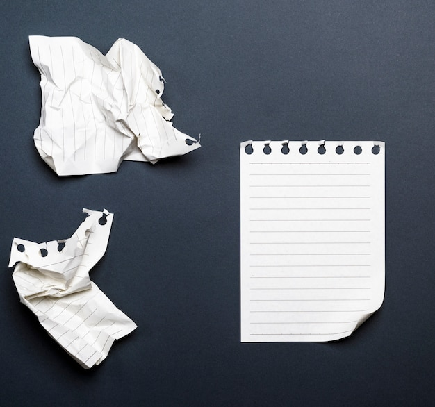 White sheets of a diary with a curved corner