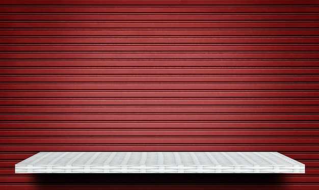 White shelf on red metal shut gate background for product display