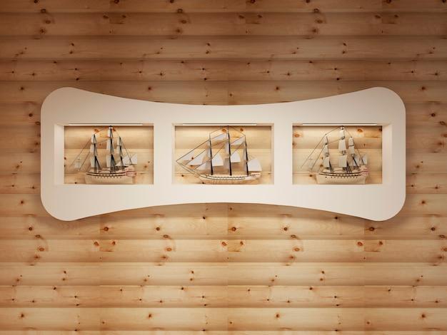 통나무 벽에 해상 선박 모델이있는 틈새가있는 흰색 선반