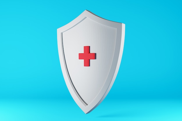 赤い医療用十字架が付いた白い盾ウイルスや感染症から健康を守る3dイラスト