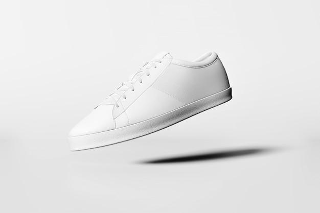 Белые ботинки изолированные на белой стене. идея минимальной концепции. 3d-рендеринг.