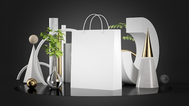 White shopping bag on abstract geometric background 3d rendering