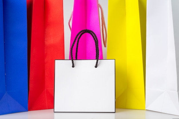 White shopping bag one color shopping bag and copy space for plain text or product