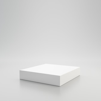 White showcase podium or product display on white background with pedestal stand concept. blank product shelf standing backdrop. 3d rendering.