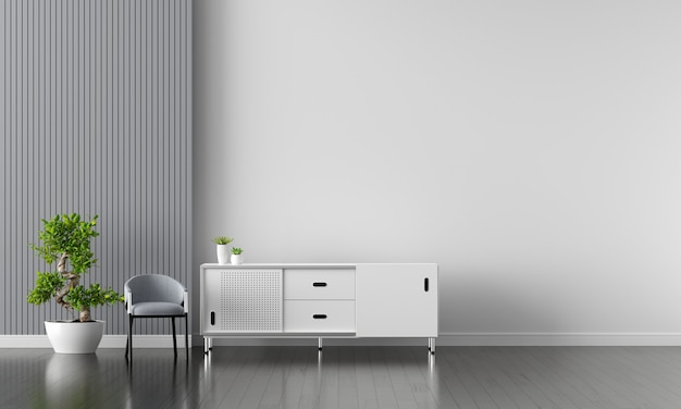 White sideboard in living room interior with copy space
