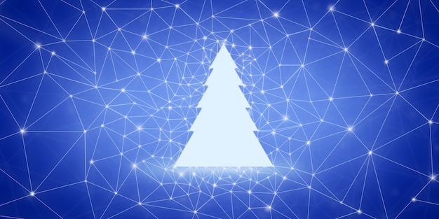 White silhouette of a christmas tree against the background of blue low poly points and lines