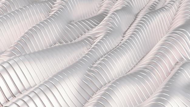 Белый серебристый металлический фон с волнами и линиями. 3d-рендеринг.