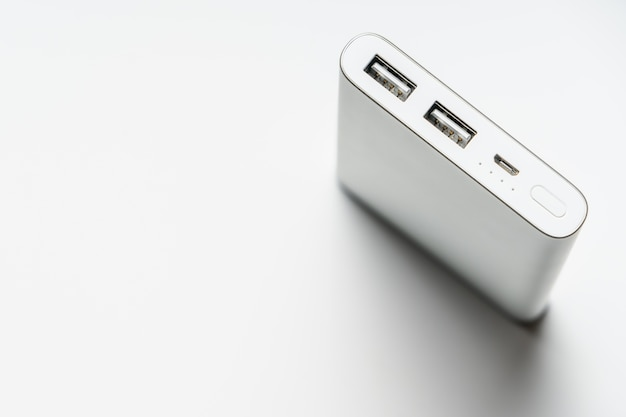 White silver power bank. save energy and reduce energy efficiency