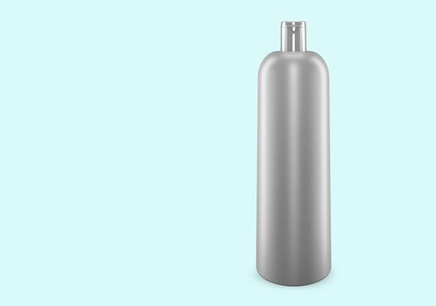 배경에서 격리 된 화이트 실버 샴푸 플라스틱 부 틀 모형 : 샴푸 플라스틱 부 틀 패키지 디자인. 빈 위생, 의료, 신체 또는 얼굴 관리 템플릿. 3d 그림