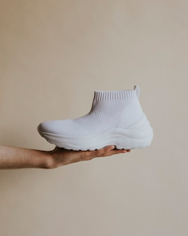 White simple knitted high top slip-on sneakers