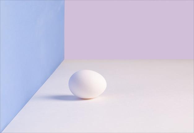 白い単一の卵。白いテーブルの上の柔らかい影と鶏卵。