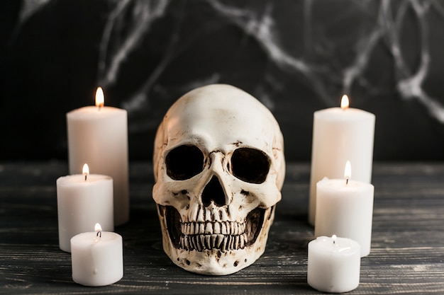 White skull and burning candles