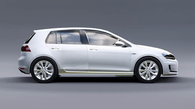 White small family car hatchback on gray background. 3d rendering.