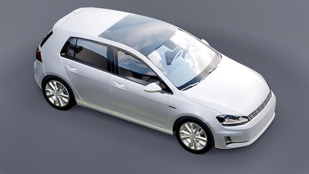 회색 배경에 흰색 작은 가족용 자동차 해치백. 3d 렌더링.