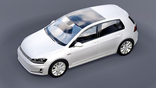 Белый небольшой семейный автомобиль хэтчбек на сером фоне. 3d-рендеринг.