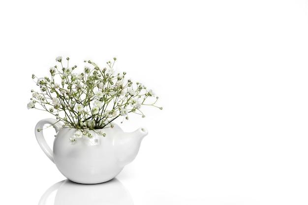 흰색 세라믹 주전자에 흰색 작은 꽃.