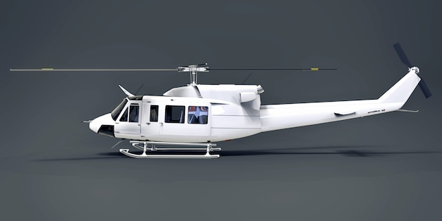 White small military transport helicopter on gray isolated background. the helicopter rescue service. air taxi. helicopter for police, fire, ambulance and rescue service. 3d illustration.