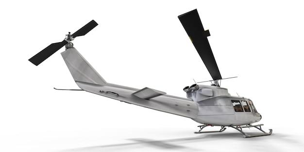 격리 된 흰색 배경 3d 그림에 흰색 작은 군사 수송 헬리콥터