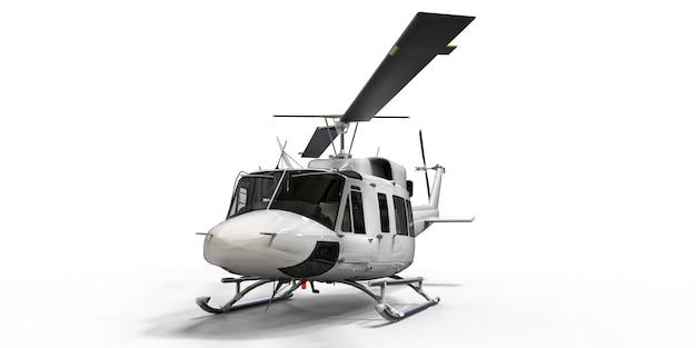 Белый небольшой военно-транспортный вертолет на белом изолированном фоне. вертолетно-спасательная служба. воздушное такси. вертолет для полиции, пожарных, скорой помощи и спасательных служб. 3d иллюстрации.