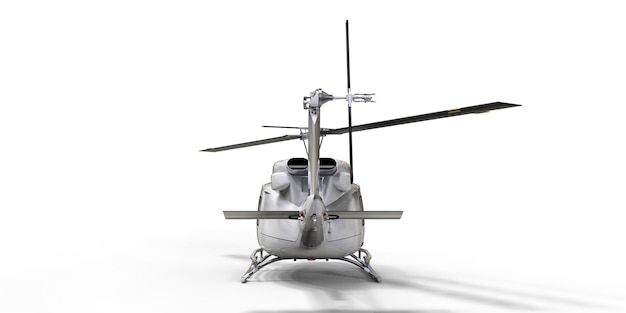 격리 된 흰색 배경에 흰색 작은 군사 수송 헬리콥터. 헬리콥터 구조 서비스. 에어택시. 경찰, 소방, 구급차 및 구조 서비스를 위한 헬리콥터. 3d 그림입니다.