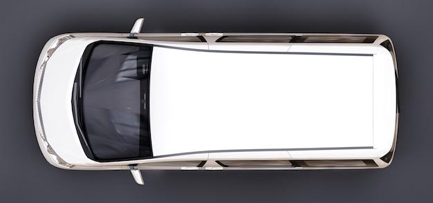 人を運ぶための白い小さなミニバン。光沢のある灰色の背景に立体イラスト。 3dレンダリング。