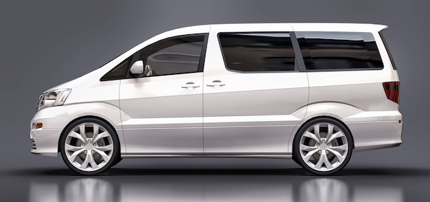 White small minivan for transportation of people three dimensional on glossy gray