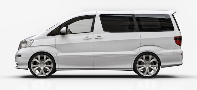 White small minivan for transportation of people. three-dimensional illustration on a glossy white surface
