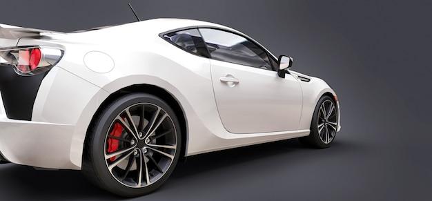 흰색 작은 스포츠카 쿠페. 3d 렌더링.