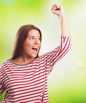 White smiling lady win celebration