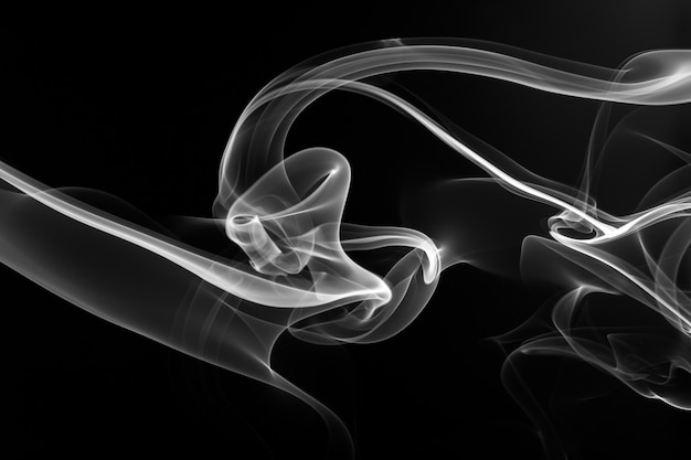 White smoke abstract on black background. fire design