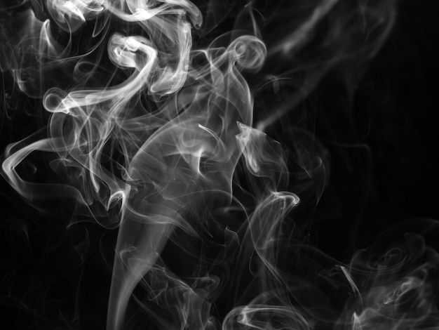White smoke abstract black background