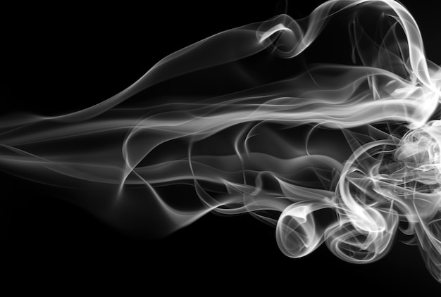 White smoke abstract on black