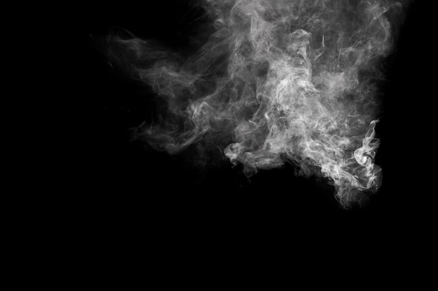White smoke flow on dark background.