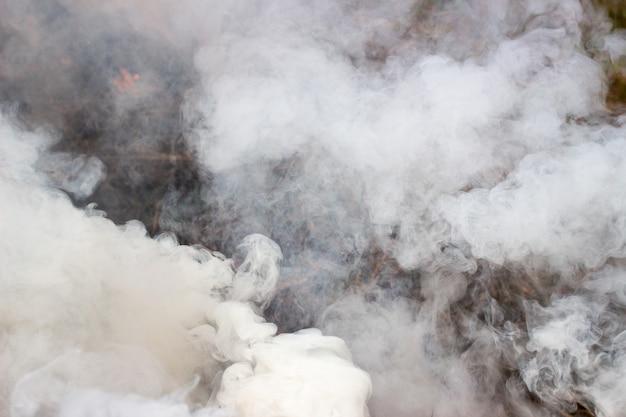 火からの白い煙がクローズアップ