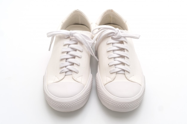 White sneakers on white