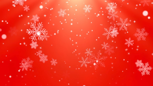 White snowflakes and abstract particles falling. happy new year and merry christmas shiny background. luxury and elegant dynamic style 3d illustration for winter holiday