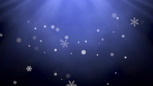 白い雪と抽象的な粒子が落ちる。明けましておめでとうとメリークリスマスの光沢のある背景。冬の休日のための豪華でエレガントなダイナミックスタイルの3dイラスト