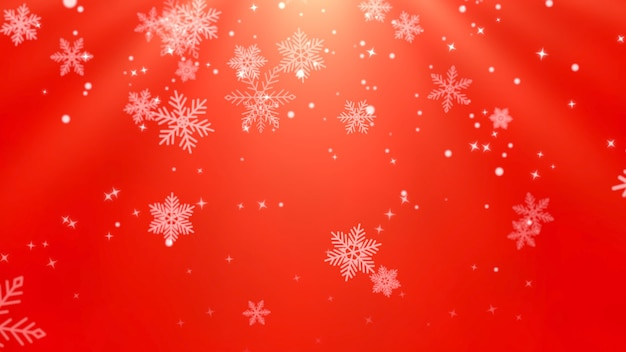White snowflakes, stars and abstract bokeh particles falling. happy new year and merry christmas shiny background. luxury and elegant dynamic style 3d illustration for winter holiday