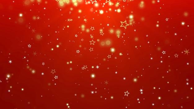 白い雪片、星、抽象的なボケ粒子が落ちています。明けましておめでとうとメリークリスマスの光沢のある背景。冬の休日のための豪華でエレガントなダイナミックスタイルの3dイラスト