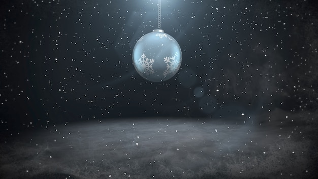 White snowflakes and white balls on dark background. luxury and elegant dynamic style 3d illustration for winter holiday