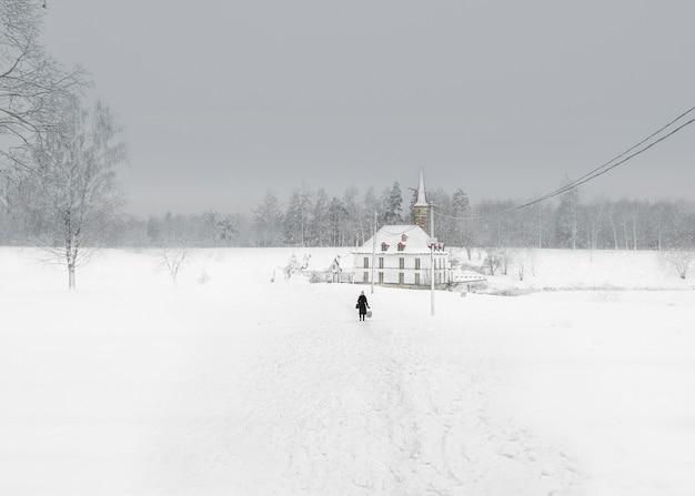 美しい自然の風景の中に古いマルタの宮殿と白い雪の風景。初冬の朝。ガッチナ。ロシア。