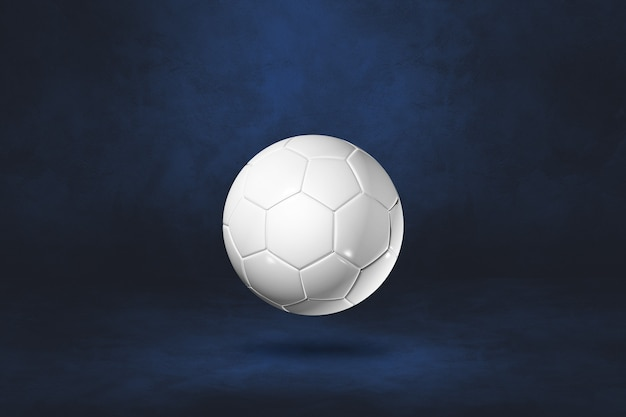 White soccer ball isolated on a dark blue wall. 3d illustration