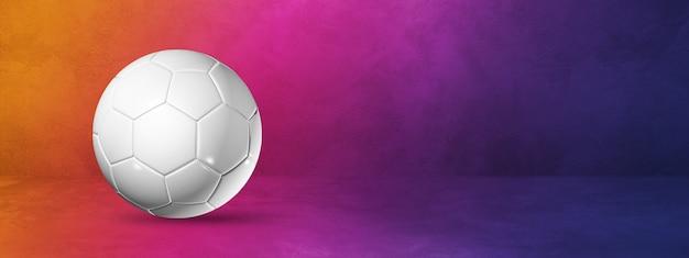 White soccer ball isolated on a purple gradient studio banner. 3d illustration