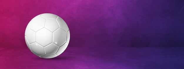 White soccer ball  on a purple background . 3d illustration