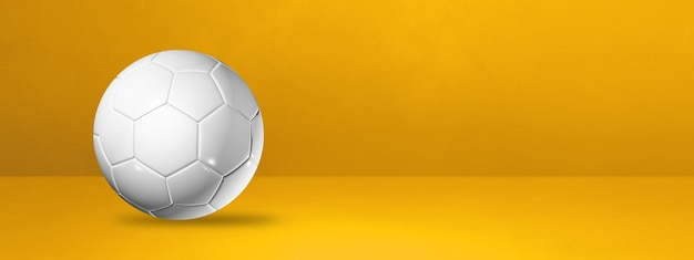 White soccer ball  on a yellow background . 3d illustration