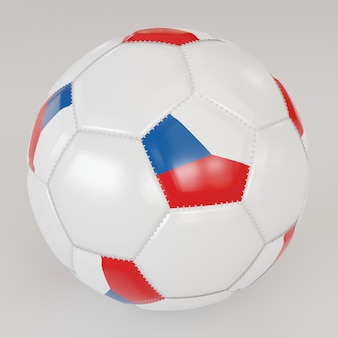 White socker ball with flag of czech republic on white background